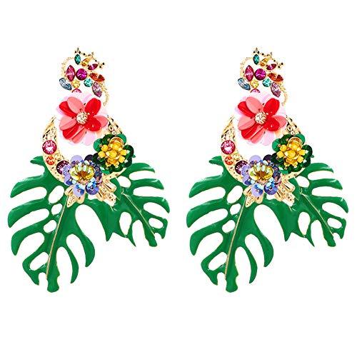 Böhmen Palmblatt-Bolzen-Sequin Mit Monstera Ohrringe Diamant-Schmuck Dekoration Für Frauen Und Mädchen