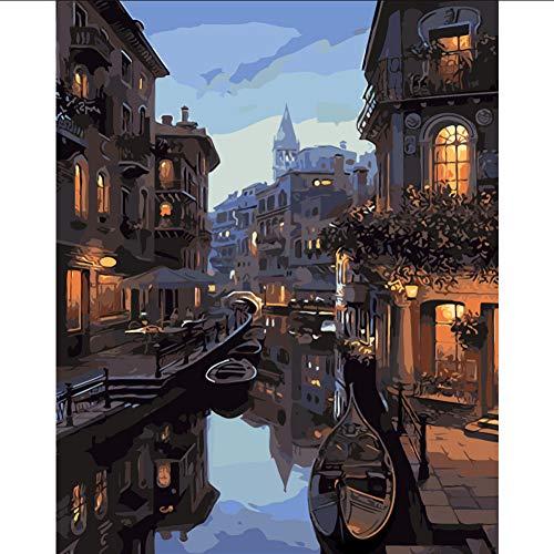 Landschaft Dunkelheit licht der Nacht malerei by Zahlen auf leinwand acryl färbung painitng by Zahlen für hauptwanddekor -