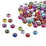 PandaHall Elite–100pcs Perlas Europeas acrílicas imitación Turquesa Style Perlas con Agujeros (con Doble núcleo de latón Plateado Perlas Arandela para Joyas, 14x 9.5mm, Agujero: 5mm