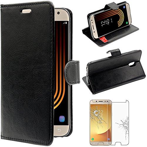 ebestStar - pour Samsung Galaxy J5 2017 SM-J530F - Housse Coque Etui Portefeuille Support PU Cuir + Film protection écran en VERRE Trempé, Couleur Noir [Dimensions PRECISES de votre appareil : 146.2 x 71.3 x 7.9 mm, écran 5.2''] [Note Importante Lire Description]