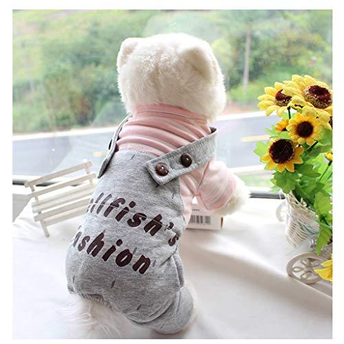 QNJM Pet Kleidung Baumwolle Gestreiften Overall Vierbeinigen Hosen Welpen Schneeanzug Winter Warm (Farbe : Pink, größe : XL) -