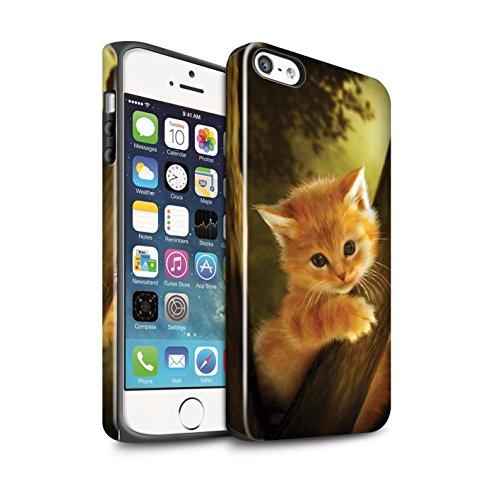 Officiel Elena Dudina Coque / Brillant Robuste Antichoc Etui pour Apple iPhone SE / Félins/Léopard/Guerrier Design / Les Animaux Collection Le Brave/Chaton