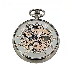 Klassische Taschenuhr Ruhla mechanik mit Glasboden 5036-3 inkl Taschenuhrkette