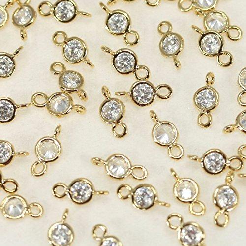 4pezzi di lucido brillante Cubic Zirconia perline ciondoli Connettori Links perline ciondolo in metallo ottone placcato in oro 16K per orecchini collana braccialetti etc. Gioielli forniture-Annielov # mb-81-gd