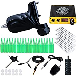 Dragonhawk Tattoo kit Rotary Machine Tattoo Gun Power Supply Needles for Tattoo Artist KT-335