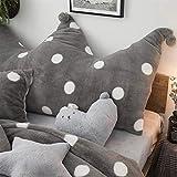 Liveinu Krone Fleece Kopfteil Kissen mit Pompons Bett Rückenkissen Rückenlehne Palettensofa Kissen Für Bett Sofa Couch Waschbar Dekorationskissen Tupfen Grau 80x180cm