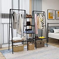 DUMEE Garment Rank Metal Clothing Ranks with 4-Tiers 6 Shelf Shoe Rack 2 top crossbars Overhead Bar for Hanging Clothes Coat Hat Rack and Storage Metal Stable Easy Assemble Adds Closet Space Black
