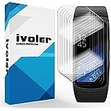 [Nuevo Version] iVoler Samsung Gear Fit 2 Protector de Pantalla, [8 Unidades] 3D Curvo Cobertura Completa [líquida Instalar] [Arañazos Resistente] [No Burbujas] HD Transparente TPU Suave láminas Protectora para Samsung Gear Fit 2
