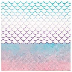 PROCOS 90548 - Servilletas de Sirena (20 Unidades), Color Rosa, Azul y Blanco