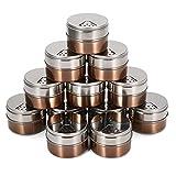 Janolia 12 Pcs Magnetische Gewürzdosen-Set, Rostfreier Stahl Runden Lagerbehälter Gläser, Schnell gießen, Kühlschrank magnetisch aufkleben, Groß für Salz, Pfeffer, Kräuter oder Gewürze