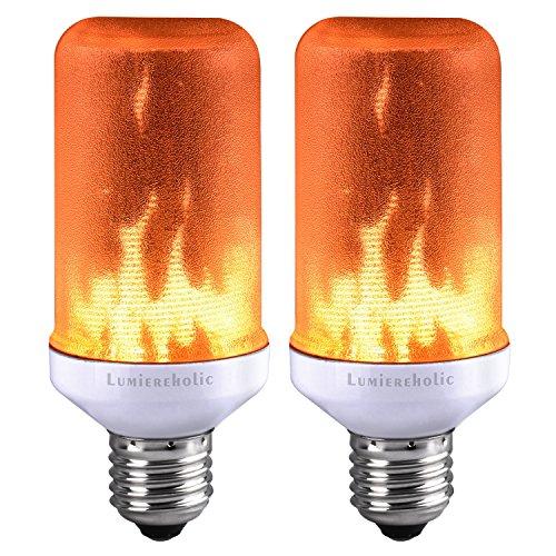 (Lumiereholic LED Flamme E27 Lampe Flackernde Flamme Licht Effekt Feuer Glühbirne Wandleuchte Außenleuchte Flackerlicht für Haus Garten Bar Party Hochzeit Restaurant Valentinstag Deko [Energieklasse A+])