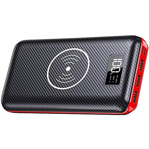 KEDRON Powerbank 24000mAh Externer Akku, 2 in 1 Kabellose Wireless Power Bank mit LCD Digital Display und 2 Eingänge & 3 Ausgänge Hohe Kapazität Tragbares Ladegerät für Das Smartphone