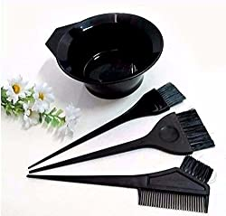 AASA Hair Dye Bowl And Brush Set, Hair Dye Accessories, Black, 30 Gram, 4 Pcs, Pack Of 1