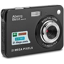 AbergBest Appareil Photo 21 Mega Pixels 2.7 LCD Rechargeable HD Digital Camera Caméra vidéo numérique pour Les étudiants, Les Enfants, Les Adultes (Noir)