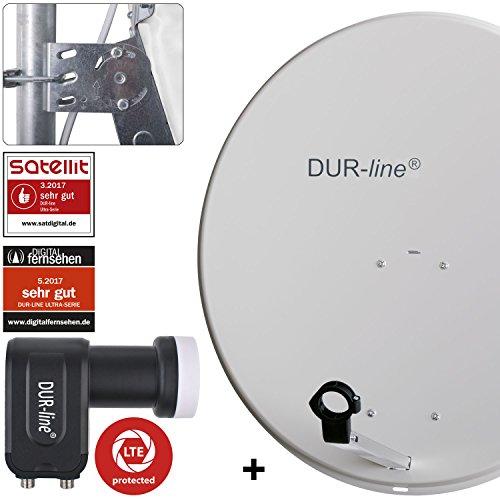 DUR-line MDA 80 Hellgrau - Digiatale 2 Teilnehmer Satellitenschüssel Komplett-Anlage mit +Ultra Twin - LNB [Camping, Astra 19,2°, DVB-S/S2, Full HD, 4K, 3D]