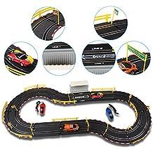 deAO Top Turbo Pista de Carreras Set 1:34 Coches Slot - Circuito Dos Velocidades: Principiante y Experto (3 metros)
