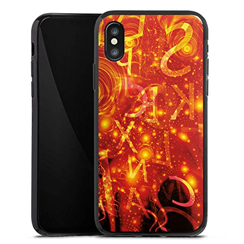 Apple iPhone X Silikon Hülle Case Schutzhülle Muster Abstarkt Glut Silikon Case schwarz