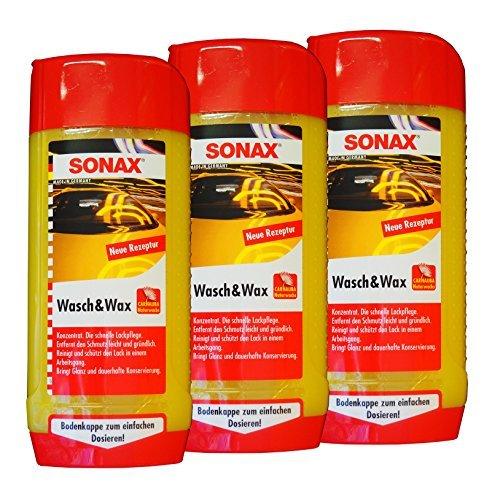 Preisjubel 6 x SONAX Wasch&Wax 500ml, Auto-Shampoo, Autowäsche, Auto-Wachs, Versiegelung