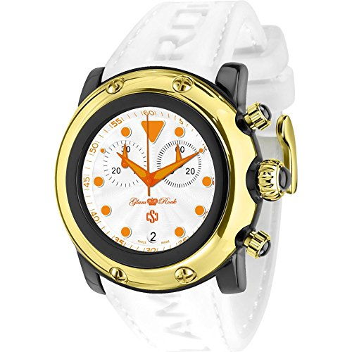 Glam Rock Unisex Miami Beach 46mm White Silicone Band Polycarbonate Case Quartz Analog Watch GR2519