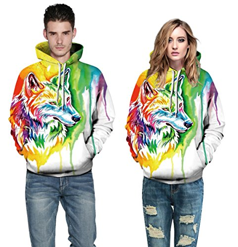 Herren Digitaldruck Kapuzenpullover Tops Fashion Hoodie Pullover Hooded Sweatshirt Wolf Color