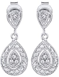 Peora Sparkling Sterling Silver Pear Drops for Women