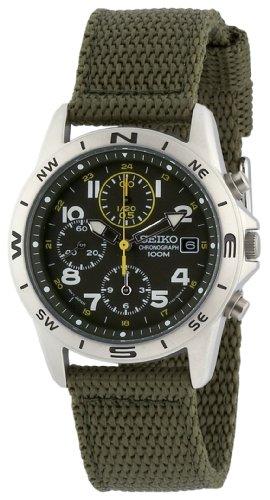 Seiko - SND377P2 - Quartz - Montre Mixte - Quartz Chronographe - Cadran Vert - Bracelet Tissu Vert