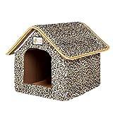 elvnx Haustierbett, faltbar, mit Matte, weiches Hundebett, für kleine und mittelgroße Hunde, Leopard, 46cmx38cmx34cm
