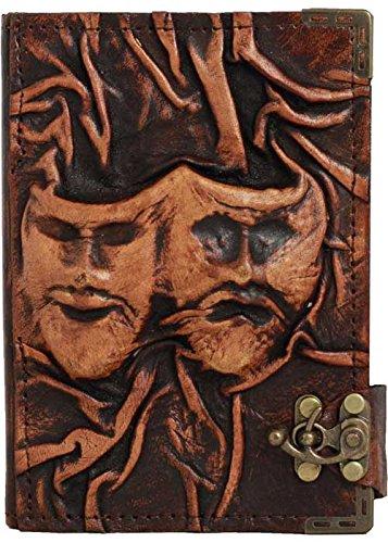 felice-maschera-triste-dramma-in-rilievo-marrone-annata-diario-in-pelle-fatto-a-mano-leather-taccuin