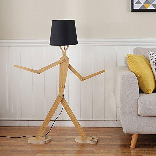Lampe sur pied créative en forme de personnage, en bois nordique, 110cm, ampoule E27 (non incluse), Noir  40.0W