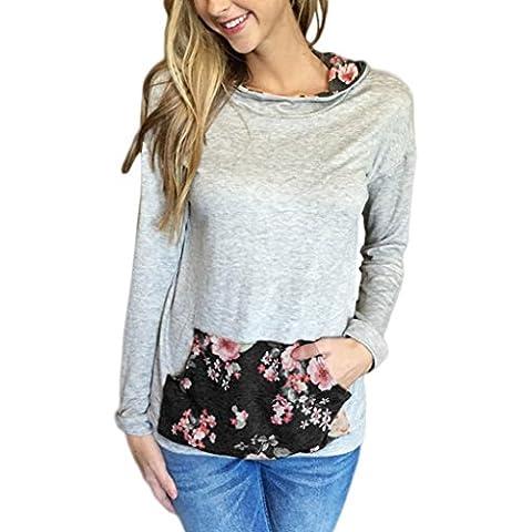 OverDose Las mujeres impresas florales con capucha del bolsillo sudadera Tops blusa de la camisa