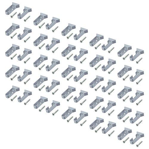 Emuca 7065925 Paire de supports latéraux pour barre de penderie ovale, Gris métallisé, Lot de 25