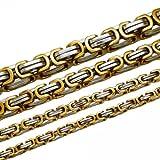 Soul-Cats® Königskette Halskette Set Armband Edelstahl gold silber schwarz lange Kette cm, Größe:5 mm;Farbe:gold / silber;Auswahl:Kette 55 cm