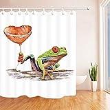 HUIJU Kunst Gemälde Frosch Duschvorhang Badezimmer wasserdicht Anti-Mildew Vorhänge Vorhänge an den Fenstern mit 12 Haken W180*H 180 cm 100% Polyester Produktion
