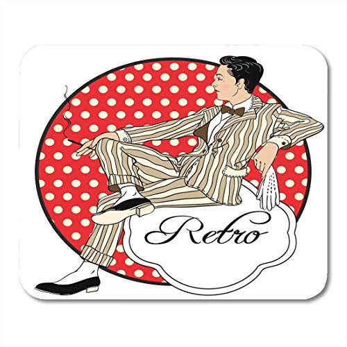 Retro Men`S Pretty Style Man Beautiful Vintage Emblem 1920S People Party Chicago Prints Gangster Mouse Pad for Notebooks,Desktop Computers Office Supplies ()
