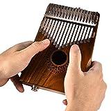 Gereton 17 Tasten Thumb Piano, 17 Tasten EQ Kalimba Solide Akazie Finger Piano Thumb Piano Link Lautsprecher Elektrische Pickup mit Case