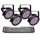 Chauvet DJ SlimPAR 56 LED PAR Can Effetto della luce 4-pack con Obey 10 DMX Controller