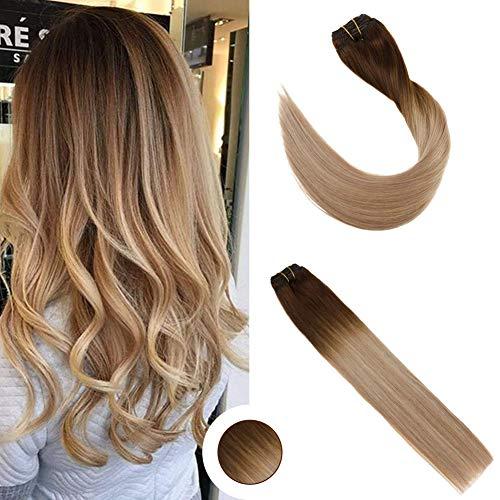 Ugeat 14 Zoll Haarverlängerung Echthaar Clips Ombre Braun zu Blond mit Braun 120g/9pcs 100% Remy Clip in Echthaar Extensions