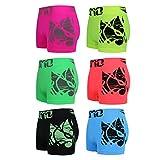 ReKoe 6er Pack Boxershorts Pants Shorts Unterwäsche Neon Farben mit Motiv Uomo Tattoo, Größe:M/L