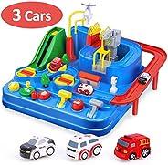 CubicFun Pista de Coches para Niños 3 4 5 6 7 8 años, City Rescue Pista Cars Juguetes de Aventura Playsets, Pi