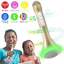 Bluetooth Microfono Wireless Microfono Bluetooth Senza Fili LED Luce Karaoke Portatile Lettore Compatibile con iOS…
