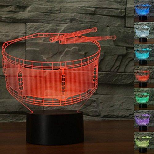 (3D schlagzeug neuheit trommel Illusions-Lampen, Tolle 7 Farbwechsel Acryl berühren Tabelle Schreibtisch-Nachtlicht mit USB-Kabel für Kinder Schlafzimmer Geburtstagsgeschenke Geschenk)