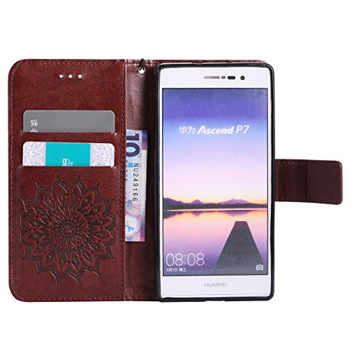 Coque Cuir Etui Pour Huawei P7,Huawei P7 Portable Coque Housse,Ekakashop Jolie Pourpre Tournesol Painting Bookstyle Rabat Shell Silicone Etui Flip Cover Smart Case Housse de Protection Portefeuille à  Brun