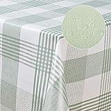 laro Wachstuch-Tischdecke abwaschbar meterware Wachs-Tischtuch Wachs-Decke PVC Muster, Muster:Streifen Weiss-grün, Größe:130x160 cm