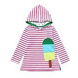 Omiky Kleinkind-Baby-Karikatur-Striped Hoodie-Kleid-Lange Kleid-Kleidung (Rosa, 6 Jahre alt)