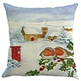 federe cuscini,Fittingran Regali di Natale belle federe in lino stampato Cuscino natalizio Colorato bellissimo paesaggio federa di lino stampata di Natale (D)