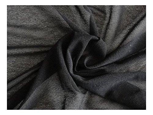 Fabrics-City SCHWARZ SUPERSTRETCH FEIN NETZSTOFF WEICH TRANSPARENT STOFF STOFFE, 2692 - Stretch-mesh-2 Stück
