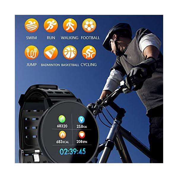 TOOGOO T3 Smart Watch Ip67 Impermeable Smartwatch Presión Arterial Monitor de Ritmo Cardíaco Rastreador de Ejercicios Hombres Wearable Pulsera Inteligente (Negro) 5