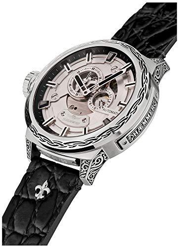 HÆMMER Big Honor Skeleton Herren-Automatikuhr aus Edelstahl | Exklusiv Limitierte Herren-Uhr mit Kalbsleder Armband | Luxus-Uhr mit Inkgraved veredeltem Gehäuse