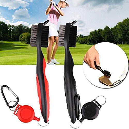 Golf Club Bürste und Groove Cleaner, Nylon & Stahldraht Golf Reinigungsbürste, 3 in 1 Dual Sided Brush mit Einziehbare Seilrutsche und Aluminium Karabiner Reinigungspinsel für Golfschläger (rot)