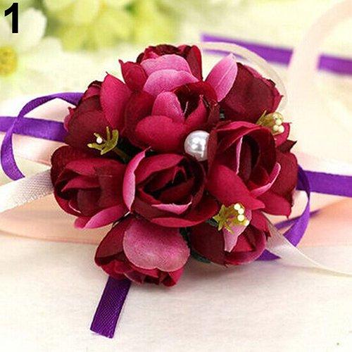 Gemini _ mall donna fiore corpetto da polso braccialetto damigella d' onore sorelle festa nuziale nuziale prom indossando, wine red, taglia unica